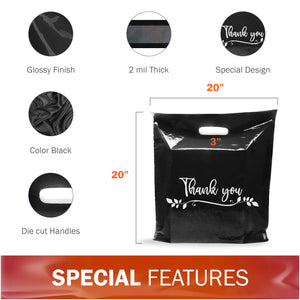 "100 Pack 20"" x 20"" with 2 mil Thick Extra Large Black Merchandise Plastic Retail Lea Thank You Bags"