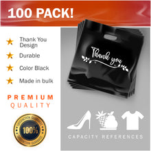 "Load image into Gallery viewer, 100 Pack 20"" x 20"" with 2 mil Thick Extra Large Black Merchandise Plastic Retail Lea Thank You Bags"