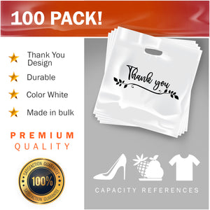"100 Pack 20"" x 20"" with 2 mil Thick Extra Large White Merchandise Plastic Retail Lea Thank You Bags"