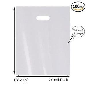 "100 Pack 15"" x 18"" with 2 mil Thick White Merchandise Plastic Glossy Retail Bags"