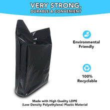 "Load image into Gallery viewer, Black Merchandise Plastic Shopping Bags - 100 Pack 15"" x 18"" 1.25 mil Thick, 2 in Gusset"