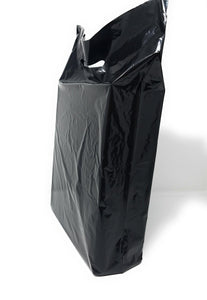 "Black Merchandise Plastic Shopping Bags - 100 Pack 15"" x 18"" 1.25 mil Thick, 2 in Gusset"
