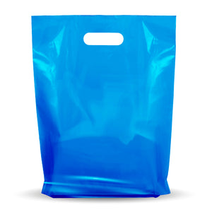 "Blue Merchandise Plastic Shopping Bags - 100 Pack 9"" x 12"" with 1.25 mil Thick"