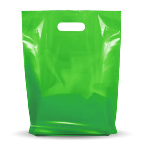 "100 Pack 9"" x 12"" with 1.25 mil Thick Green Merchandise Plastic Glossy Retail Bags"