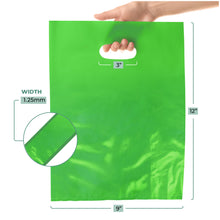 "Load image into Gallery viewer, 100 Pack 9"" x 12"" with 1.25 mil Thick Green Merchandise Plastic Glossy Retail Bags"