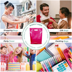"100 Pack 9"" x 12"" with 1.25 mil Thickness Pink Merchandise Plastic Glossy Retail Bags"