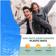 "Load image into Gallery viewer, Blue Merchandise Plastic Shopping Bags - 1000 Pack 9"" x 12"" with 1.25 mil Thick"
