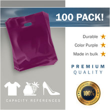"Load image into Gallery viewer, 100 Pack 12"" x 15"" with 1.5 mil Thick Purple Merchandise Plastic Glossy Retail Bags"