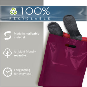 "100 Pack 12"" x 15"" with 1.5 mil Thick Purple Merchandise Plastic Glossy Retail Bags"