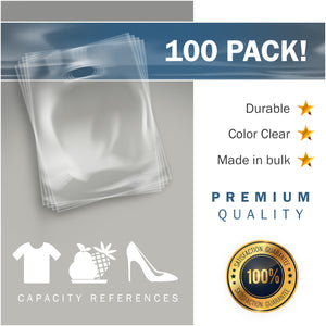 "100 Pack 12"" x 15"" with 1.5 mil Thick Clear Merchandise Plastic Glossy Retail Bags"