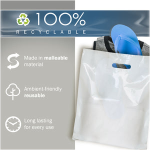 "100 Pack 20"" x 22"" with 2 mil Thick Extra Large White Merchandise Plastic Retail Bags"