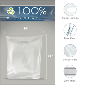 "100 Pack 20"" x 24"" with 2 mil Thick Extra Large Clear Merchandise Plastic Retail Bags"