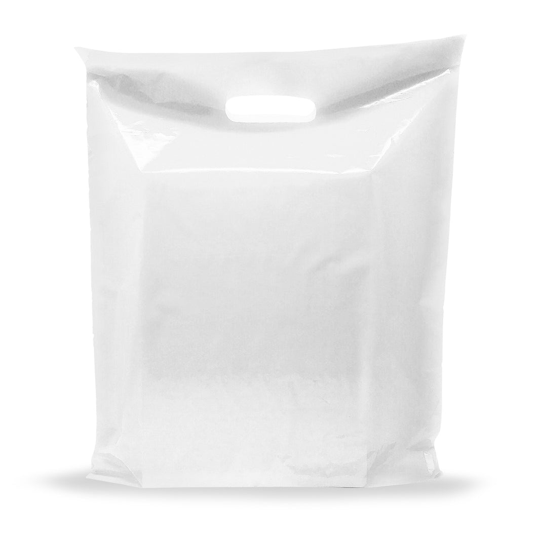 White Merchandise Plastic Shopping Bags - 100 Pack 9