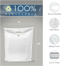 "Load image into Gallery viewer, White Merchandise Plastic Shopping Bags - 100 Pack 9"" x 12"" with 1.5 mil Thick"