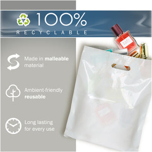 "White Merchandise Plastic Shopping Bags - 100 Pack 9"" x 12"" with 1.5 mil Thick"