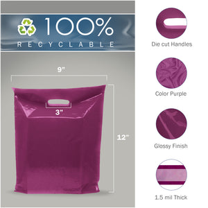 "Purple Merchandise Plastic Shopping Bags - 100 Pack 9"" x 12"" with 1.5 mil Thick"