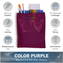 "Load image into Gallery viewer, Purple Merchandise Plastic Shopping Bags - 100 Pack 9"" x 12"" with 1.5 mil Thick"