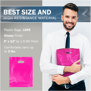 "Pink Merchandise Plastic Shopping Bags - 100 Pack 9"" x 12"" with 1.5 mil Thick"