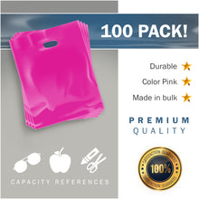 "Load image into Gallery viewer, Pink Merchandise Plastic Shopping Bags - 100 Pack 9"" x 12"" with 1.5 mil Thick"