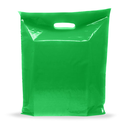 Green Merchandise Plastic Shopping Bags - 100 Pack 9