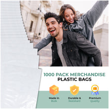 "Load image into Gallery viewer, White Merchandise Plastic Shopping Bags - 1000 Pack 12"" x 15""with 1.25 mil Thick"