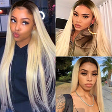 Load image into Gallery viewer, 1B/613 Blonde Straight Hair Wigs with Dark Roots 13*4 Lace Front Wig 4*4 Wig| Bridger Hair