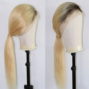1B/613 Blonde Straight Hair Wigs with Dark Roots 13*4 Lace Front Wig 4*4 Wig| Bridger Hair