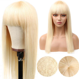 613 Blonde Straight Wig Human Hair Wigs with Bangs |Bridger Hair