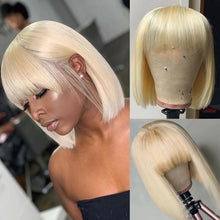 Load image into Gallery viewer, 613 Blonde Straight Wig Human Hair Wigs with Bangs |Bridger Hair