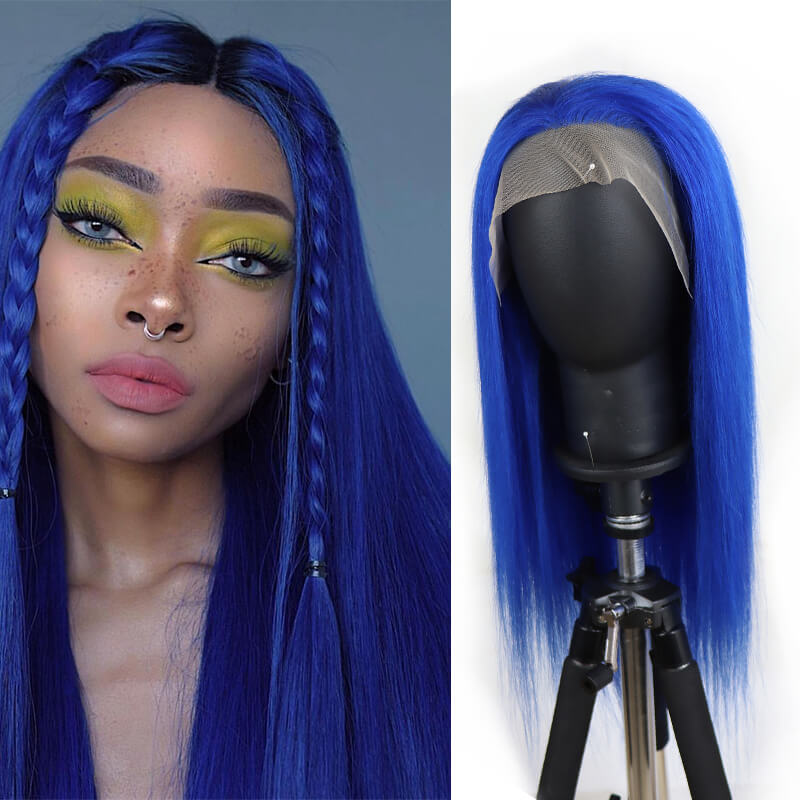 Customized Blue Straight 13*4 Lace Front Wig| Bridger Hair