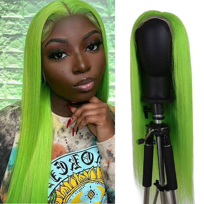 Green Wig Straight Lace Front Wig Bridger Hair