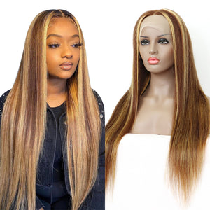 Customized Ombre Frontal Wig Highlight #4/27 Straight T Part Lace Front Wig 4/30  | Bridger Hair