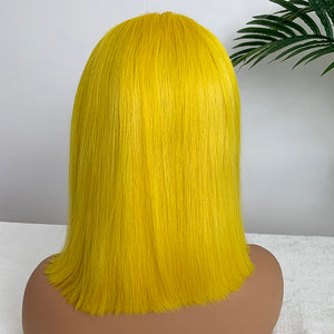 Colored Straight Lace Front Wig Customized  4*4 Lace Closure Bob Wig | Bridger Hair