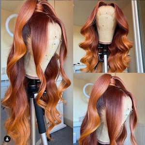 Ombre Orange Loose Wave T Part Lace Front Wig 180 250 Density Available| Bridger Hair