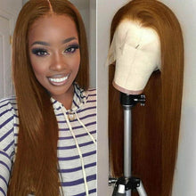 Load image into Gallery viewer, Chestnut Brown 13*4 Front Human Hair Wig Straight/Body Wave T Part Wig 10-30 Inch | Bridger Hair