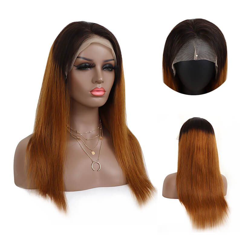 Customzied 1B/33 Straight Lace Front Wig Bridger Hair