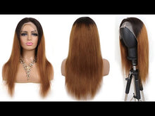Load and play video in Gallery viewer, Customzied 1B/33 Straight Lace Front Wig Bridger Hair