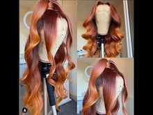 Load and play video in Gallery viewer, Ombre Orange Loose Wave T Part Lace Front Wig 180 250 Density Available| Bridger Hair