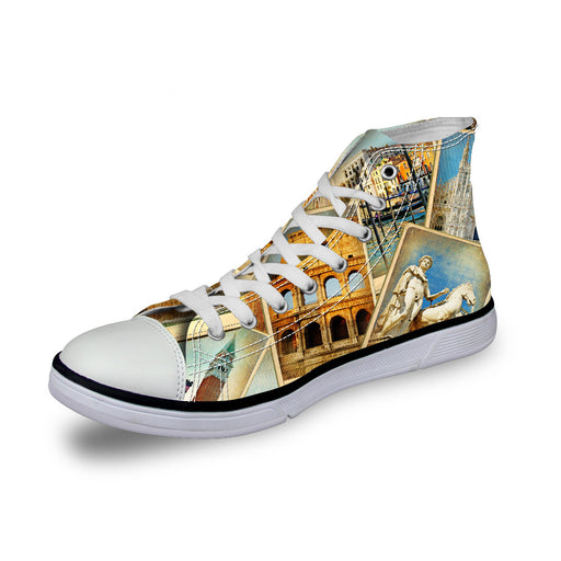 Foreign Trade  High-Top Sports Casual Canvas Lace Up Shoes