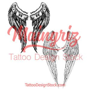 2 x realistic wing  tattoo design high resolution download
