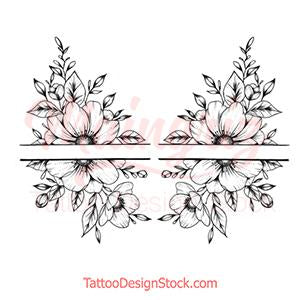 Half sleeve oriental flowers tattoo design high resolution download