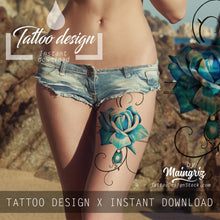 Load image into Gallery viewer, 5 x Realistic roses with sexy precious stone  tattoo design high resolution download
