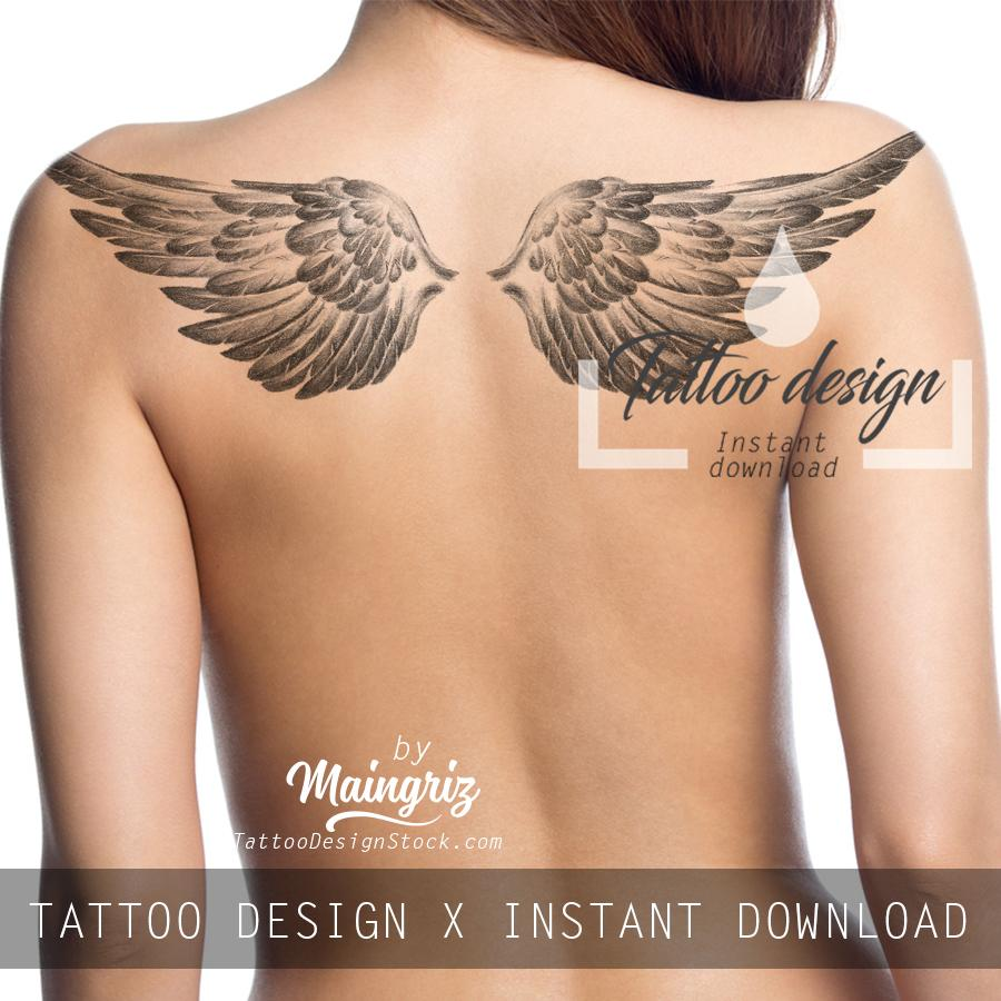 Sexy realistic wing - download tattoo design