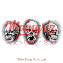 Load image into Gallery viewer, 3 realistic skull tattoo design high resolution download