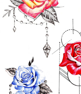 5 x precious stone with realistic rose  tattoo design high resolution download