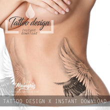 Load image into Gallery viewer, Sexy realistic wing  tattoo design high resolution download