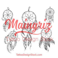 Load image into Gallery viewer, 5 dreamcatchers tattoo designs digital download