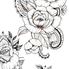 Load image into Gallery viewer, oriental roses mandalas sexy girls tattoo ideas