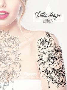 5 Oriental roses with pearls and mandala tattoo design instant download