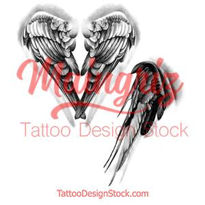 2 x realistic sexy wing - download tattoo design